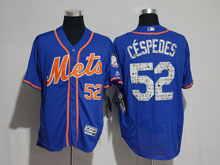 Mens Majestic New York Mets #52 Yoenis Cespedes Blue 2017 Spring Training Flex Base Jersey