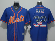 Mens Mlb New York Mets #32 Steven Matz Blue Usa Flag Jersey