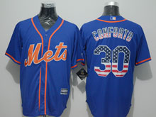 Mens Mlb New York Mets #30 Michael Conforto Blue Usa Flag Jersey