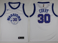 Mens 2017-18 Season Nba Golden State Warriors #30 Stephen Curry White Throwback Socks Jersey