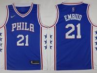 Mens 2017-18 Season Nba Philadelphia 76ers #21 Joel Embiid Blue Swingman Nike Jersey