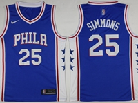 Mens 2017-18 Season Nba Philadelphia 76ers #25 Ben Simmons Blue Swingman Nike Jersey