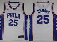 Mens 2017-18 Season Nba Philadelphia 76ers #25 Ben Simmons White Swingman Nike Jersey