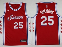 Mens 2017-18 Season Nba Philadelphia 76ers #25 Ben Simmons Red Swingman Nike Jersey