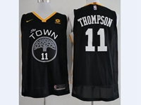 Mens 2017-18 Season Nba Golden State Warriors #11 Klay Thompson Black Nike Player Jersey