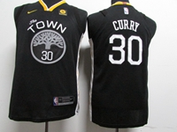 Youth 2017-18 Season New Nba Golden State Warriors #30 Stephen Curry Black Nike Jersey