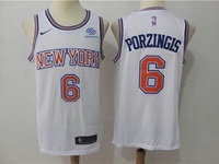 New Mens Nba New York Knicks #6 Kristaps Porzingis White Swingman Nike Jersey(blue & Red Stripe On Neck)