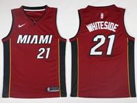 New Mens Nba Miami Heat #21 Hassan Whiteside Red Nike Jersey