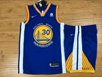 New Mens Nba Golden State Warriors #30 Stephen Curry Blue Nike Suit Jersey