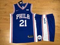 Mens Nba Philadelphia 76ers #21 Joel Embiid Blue Nike Suit Jersey