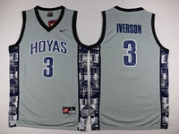 Mens Nba Georgetown Hoyas #3 Allen Iverson Gray Nike Jersey