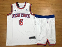 Mens Nba New York Knicks #6 Kristaps Porzingis White Nike Suit Jersey