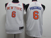 Youth Nba New York Knicks #6 Kristaps Porzingis White Nike Jersey