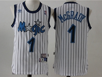 New Mens Nba Orlando Magic #1 Mcgrady White Stripe Swingman Hardwood Classics Mesh Jersey