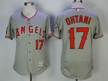 Mens Mlb Los Angeles Angels #17 Shohei Ohtani Gray Pullover Flex Base Jersey