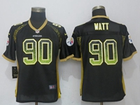 Women Nfl Pittsburgh Steelers #90 T. J. Watt Black Drift Fashion Elite Nike Jersey