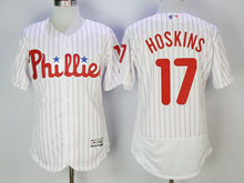 Mens Majestic Philadelphia Phillies #17 Rhys Hoskins White Stripe Flex Base Jersey