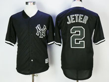 Mens Majestic New York Yankees #2 Derek Jeter Black Cool Base Jersey