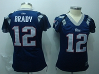 Women Nfl New England Patriots #12 Tom Brady Blue (dimond Neck) 2018 Elite Jersey