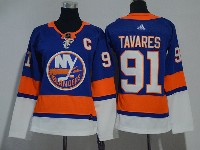 Women Nhl New York Islanders #91 John Tavares Blue Adidas Jersey