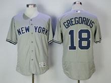 Mens Majestic New York Yankees #18 Didi Gregorius Gray Flex Base Jersey
