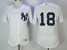 Mens Majestic New York Yankees #18 Didi Gregorius White Stripe Flex Base Jersey