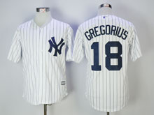 Mens Majestic New York Yankees #18 Didi Gregorius White Stripe Cool Base Jersey