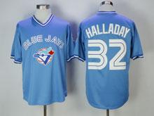 Mens Mlb Toronto Blue Jays #32 Roy Halladay Light Blue Pullover Throwback Jersey