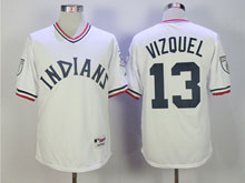Mens Mlb Cleveland Indians #13 Omar Vizquel White Pullover Jersey