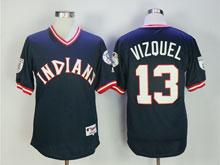 Mens Mlb Cleveland Indians #13 Omar Vizquel Dark Blue Pullover Jersey