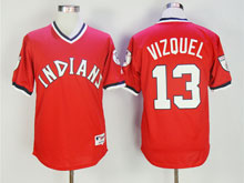 Mens Mlb Cleveland Indians #13 Omar Vizquel Red Pullover Jersey