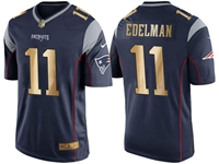 Mens New England Patriots #11 Julian Edelman Blue Gold Number Christmas Limited Jersey