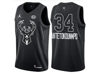 Mens Nba 2018 All Star Milwaukee Bucks #34 Giannis Antetokounmpo Black Jersey