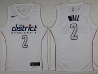 Mens 2017-18 Season Nba Washington Wizards #2 John Wall White City Edition Swingman Nike Jersey
