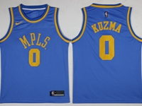 Mens Nba Los Angeles Lakers #0 Kyle Kuzma Light Blue Mpls Throwbacks Jersey