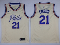 Mens 2017-18 Season Nba Philadelphia 76ers #21 Joel Embiid Cream City Edition Swingman Nike Jersey