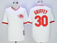 Mens Mlb Cincinnati Reds #30 Ken Griffey White Pullover Throwbacks Cool Base Jersey
