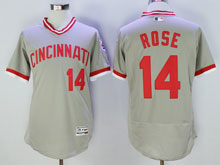 Mens Mlb Cincinnati Reds #14 Pete Rose Gray Pullover Throwbacks Flex Base Jersey