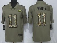 Mens Philadelphia Eagles #11 Carson Wentz Green Olive Camo Carson 2017 Salute To Service Limited Jersey