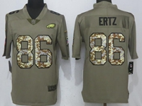 Mens Philadelphia Eagles #86 Zach Ertz Green Olive Camo Carson 2017 Salute To Service Limited Jersey