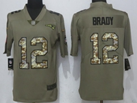Mens Nfl New England Patriots #12 Tom Brady Green Olive Camo Carson 2017 Salute To Service Limited Jersey