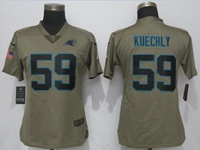 Women Nfl Carolina Panthers #59 Luke Kuechly Green Olive Salute To Service Elite Jersey