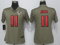 Women Nfl Atlanta Falcons #11 Julio Jones Green Olive Salute To Service Elite Jersey