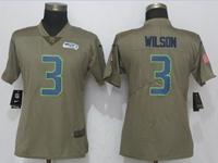 Women Nfl Seattle Seahawks #3 Russell Wilson Green Olive Salute To Service Elite Jersey