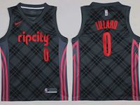 Mens Nba Portland Trail Blazers #0 Damian Lillard Black Nike City Edition Swingman Jersey