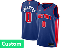Mens Nba Detroit Pistons Custom Made Blue Swingman Jersey