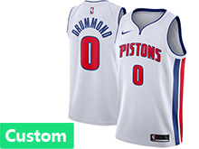 Mens Nba Detroit Pistons Custom Made White Swingman Jersey