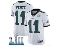Mens Women Youth Nfl Philadelphia Eagles #11 Carson Wentz White 2018 Super Bowl Lii Bound Vapor Untouchable Limited Jersey