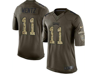Mens Women Nfl Philadelphia Eagles #11 Carson Wentz Green Camo Number 2018 Salute To Service Limited Jersey