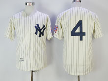 Mens Mlb New York Yankees #4 Lou Gehrig White Cream Throwbacks Jersey ( No Name)